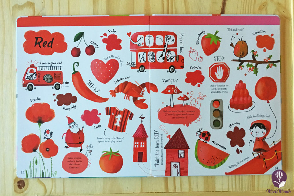 Inside Usborne's Big Book of Colors: red pages