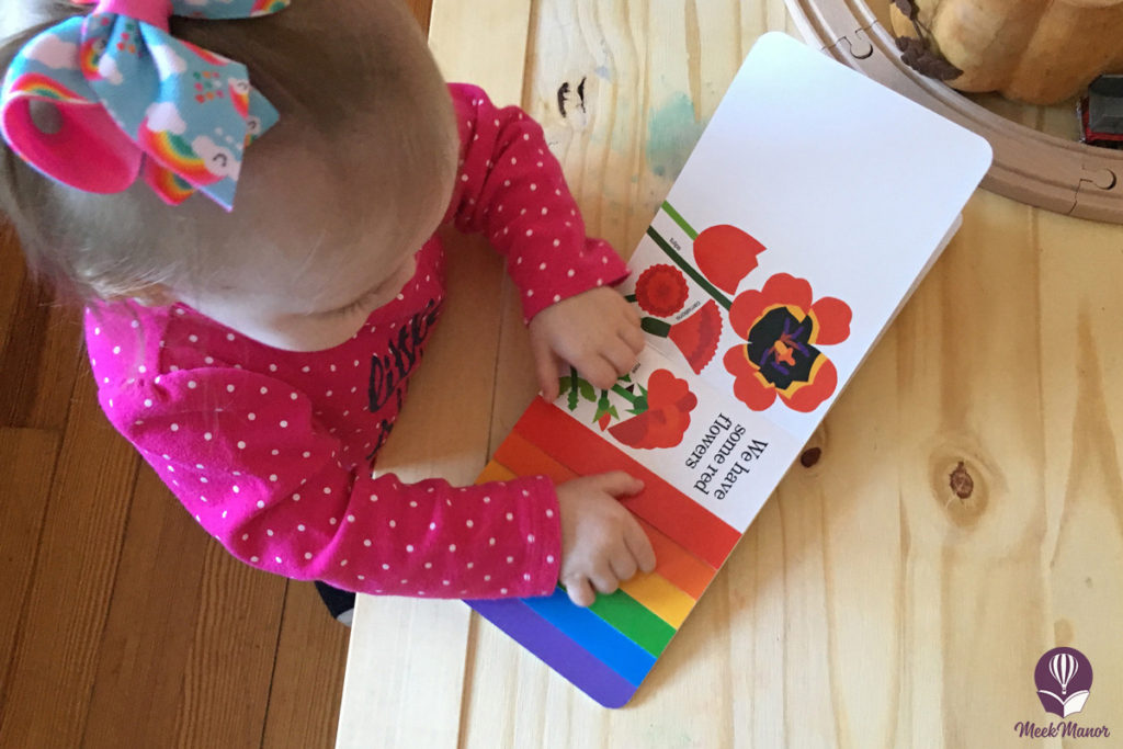 Toddler reading Planting a Rainbow book