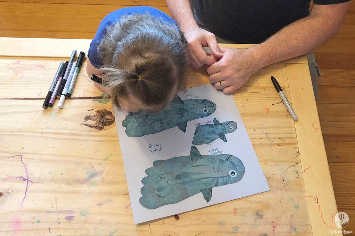 Footprint Shark Family Craft Meek Manor